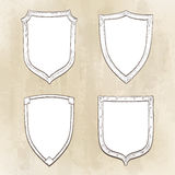 Set of vintage shields. Hand drawn vector illustration Royalty Free Stock Photo