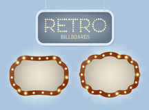 Set of vintage shining retro light banner with lightbulbs. Realistic lights with transparent glow. Vector illustration. Royalty Free Stock Images