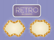 Set of vintage shining retro light banner with lightbulbs. Realistic lights with transparent glow. Vector illustration. Royalty Free Stock Photo