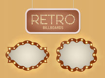 Set of vintage shining retro light banner with lightbulbs. Realistic lights with transparent glow. Vector illustration. Stock Image