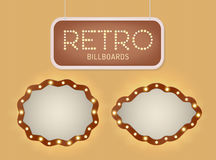 Set of vintage shining retro light banner with lightbulbs. Realistic lights with transparent glow. Vector illustration. Stock Images