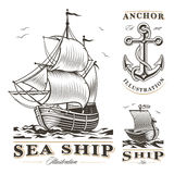 Set of vintage ships Royalty Free Stock Images