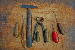 Set of vintage shoe tools Stock Photo