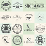 Set of vintage shoes repair and shoemaker labels Royalty Free Stock Images
