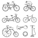 Set Vintage Sign and Silhouette Bicycle and Cycling Sport Royalty Free Stock Photography