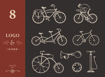 Set Vintage Sign and Silhouette Bicycle and Cycling Sport Royalty Free Stock Image