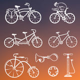 Set Vintage Sign and Silhouette Bicycle and Cycling Sport Royalty Free Stock Photo