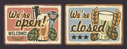 Set of vintage signage for cafe in vintage style royalty free illustration