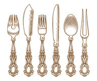 Set of vintage silver cutlery Royalty Free Stock Photo
