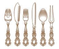 Set of vintage silver cutlery. Illustration set of vintage silver and cutlery Royalty Free Stock Photo