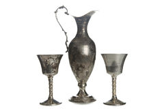 Set of vintage silver plated goblets isolated Royalty Free Stock Images