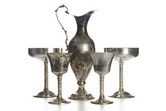 Set of vintage silver plated goblets isolated Stock Photography