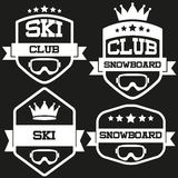 Set of Vintage SKI and Snowboard Club Badge Label. Set of Vintage SKI and Snowboard Club Badge and Label with helmets. Emblem of sport team and event. Vector Stock Images