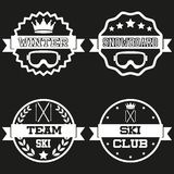 Set of Vintage SKI and Snowboard Club Badge Label Royalty Free Stock Image