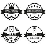 Set of Vintage SKI and Snowboard Club Badge Label Stock Photos