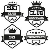 Set of Vintage SKI and Snowboard Club Badge Label Royalty Free Stock Photos