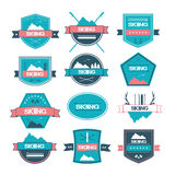 Set of vintage skiing labels, logos and design elements Stock Photography