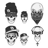 Set of vintage skull rap elements emblems, labels, badges, logos and design elements. Monochrome style. Set of vintage skull rap, emblems, labels, badges, logos Stock Photo
