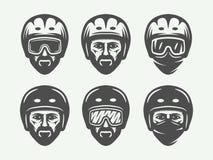 Set of vintage snowboarding, ski or winter head logos, badges. Emblems and design elements. Vector illustration. Monochrome Graphic Art royalty free illustration