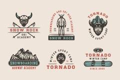 Set of vintage snowboarding, ski or winter sports logos, badges,. Emblems and design elements. Vector illustration. Monochrome Graphic Art Stock Photos
