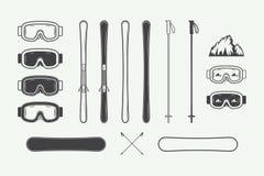 Set of vintage snowboarding or winter sports design elements. Vector illustration. Monochrome Graphic Art Stock Image