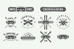 Set of vintage snowboarding or winter sports logos, badges. Emblems and design elements. Vector illustration. Monochrome Graphic Art Stock Photo