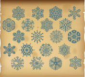 The set of  vintage snowflakes on vintage background Royalty Free Stock Photography