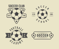 Set of vintage soccer or football logo, emblem, badge Stock Photography