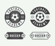 Set of vintage soccer or football logo, emblem, badge. Royalty Free Stock Photography