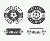 Set of vintage soccer or football logo, emblem, badge. Royalty Free Stock Photography