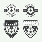 Set of vintage soccer or football logo, emblem, badge. Stock Photos