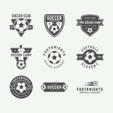 Set of vintage soccer or football logo, emblem, badge. Royalty Free Stock Photo