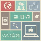 Set with vintage social media labels Stock Photography