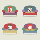 Set Of Vintage Sofas On Sale. Royalty Free Stock Photography