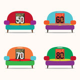Set Of Vintage Sofas On Sale. Royalty Free Stock Images