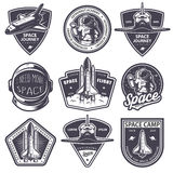 Set of vintage space and astronaut badges. Emblems, logos and labels. Monochrome style Royalty Free Stock Photo