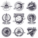 Set of vintage space and astronaut badges Royalty Free Stock Photo
