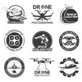 Set of vintage space, drone , aeronautics flight emblems, labels, badges Stock Photography
