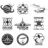 Set of vintage space, drone , aeronautics flight emblems, labels, badges Royalty Free Stock Photography