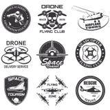 Set of vintage space, drone , aeronautics flight emblems, labels, badges Royalty Free Stock Image