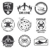 Set of vintage space, drone , aeronautics flight emblems, labels, badges Stock Photos