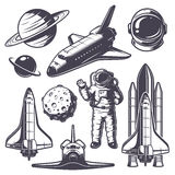 Set of vintage space elements. Monochrome style Royalty Free Stock Photo