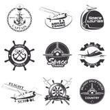 Set of vintage space, nautical, aeronautics flight  emblems Royalty Free Stock Photo