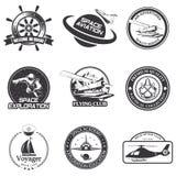 Set of vintage space, nautical, aeronautics flight  emblems Royalty Free Stock Image