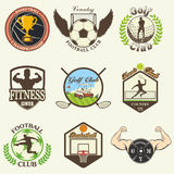 Set of vintage sports emblems Stock Photography