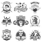 Set of vintage sports emblems Stock Photo
