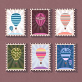 Set of vintage stamp with balloon Royalty Free Stock Photography