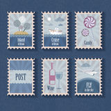 Set of vintage stamp Royalty Free Stock Photo