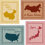 Set of vintage stamps. Set of vintage poastal stamps: China, Russia, USA and Japan Royalty Free Stock Image