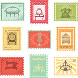 Set of vintage stamps Stock Photo